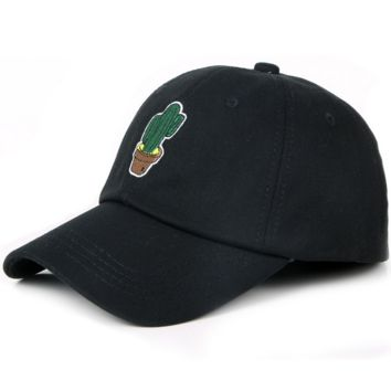 Black Unisex Men Women Adjustable Cotton Baseball embroidered cap Cactus Embroidered Plain Hat