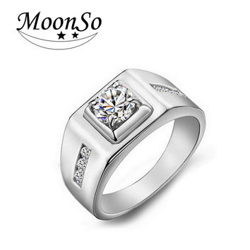 Moonso New Fashion classics Platinum Plated rings for men CZ Diamond wedding engagement mens fashion finger jewelry men T0303