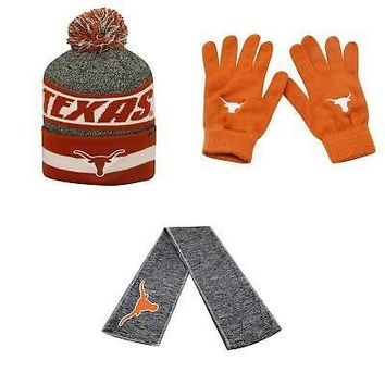 Licensed NCAA Texas Longhorns Cumulus Beanie Hat Knit Gloves And Hail Scarf 3Pk 38638 KO_19_1