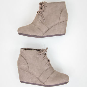 Faux Suede Taupe Wedges