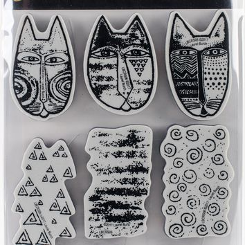 Stampendous Laurel Burch Cling Stamp W/Template -Tribal Cats