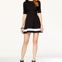 B Darlin Juniors' Cutout Ponte Fit-and-Flare Dress