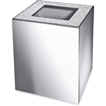 Starlight Square Bathroom Wastebasket W/O Cover W/ Swarovski Crystals