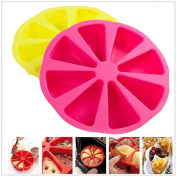 Professional Food Grade Silicone Cake Pan Baking mold jelly cupcake mold tray Bakeware 8 points scone cake tool Random color