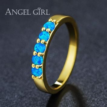 Angel Girl Color Rings Round Blue Fire Opal Rings with gold Color for Women Trendy Engagement Wedding Jewelry for women anillos