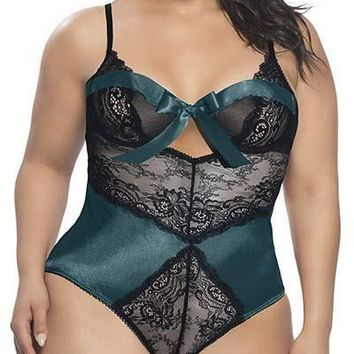 Sexy Plus Size Satin and Lace Underwire Teddy with Wrapped Up Bow Neckline