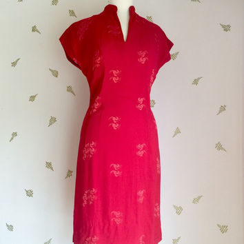 1960's Lilli Diamond Dress / Red Asian Style / Mandarin Collar / Wiggle / Embroidered / Vintage 60's