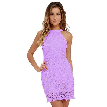 Women Elegant Wedding Party Dresses 2017 Sexy Night Club Halter Neck Sleeveless Sheath Bodycon Short Lace Dress