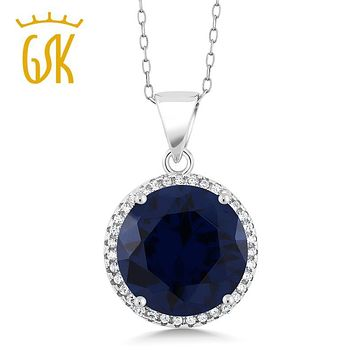 Sapphire Jewelry GemStoneKing 9.00 Ct Round Blue Sapphire Pendant Necklace Solid 925 Sterling Silver Fashion Jewelry For Women