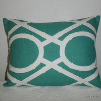 Decorative-Accent-Throw Pillow Cover-Free US Shipping-12 x 16 inch Teal and White Geometric Lattice