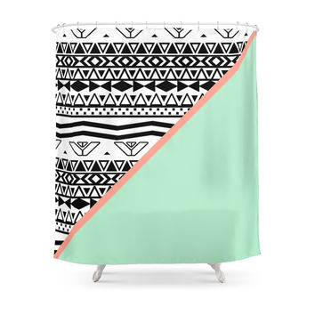 Society6 Block | Black White Aztec Pattern Mint Green Color Block Shower Curtains