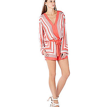 BCBGMAXAZRIA Soren Stitch Scarf-Print Long-Sleeve Romper - Light Chamb