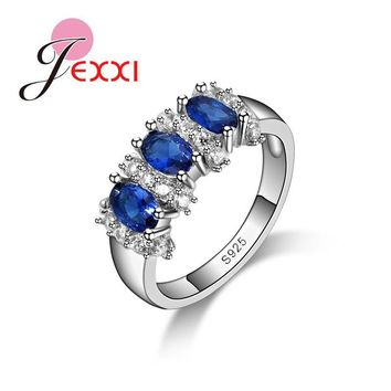 Jemmin Fine 925 Sterling Silver Blue Sapphire Wedding Engagement Rings For Women Anillos Bijoux Bague Femme