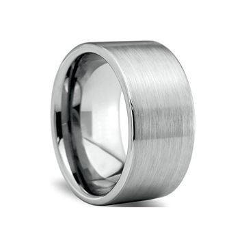 Brushed Tungsten Wide Band Ring