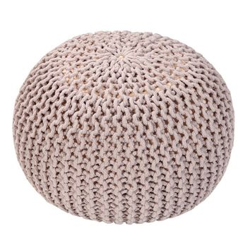 Handmade Round Knitted Pouf | Silver Gray | 50x35cm