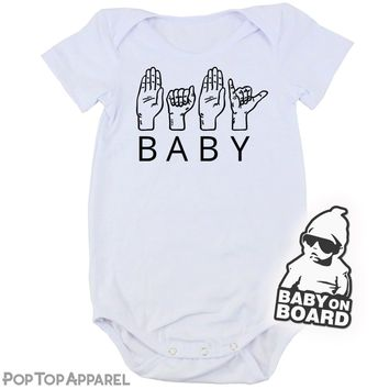 Baby's Printed Bodysuit - BABY in ASL (American Sign Language)