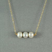 Beautiful Freshwater Pearl Necklace, Wired Beads, 14K Gold Filled Chain, Wonderful Jewelry