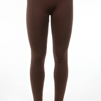 High Waist Fleece Leggings - Brown