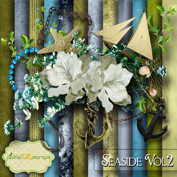 Beach Ocean River Theme - Seaside Vol2 - Digital Scrapbook Kit - Printable Backgrounds - 12x12 inch Papers - FREE Quickpage Layout
