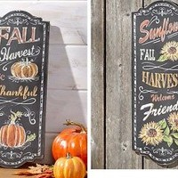 Harvest Chalkboard Wall Art Thanksgiving Hanging Home Door  / Living Room Decor