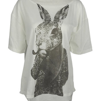 Smoking hare print top shirt womens ladies tshirt