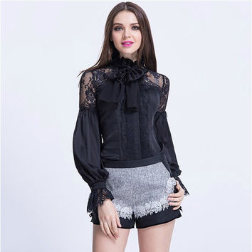 Women's Bow Blouses For Spring Summer Long Sleeve Lace Patchwork Silk Blouse Collar Shirts