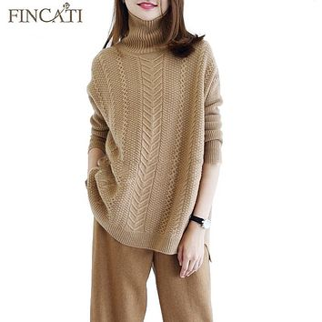 Sweaters Women 2018 New Fashion High Grade Cashmere Turtleneck Cable Knitted Casual Long Loose Sweater Pullovers Jersey