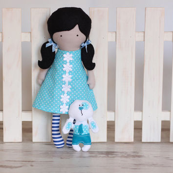 Handmade Cloth Doll Rag Doll Fashion Doll Soft Dress Up Doll Polka dot Back cut out sleeveless Dress blue-white striped tights Black hair
