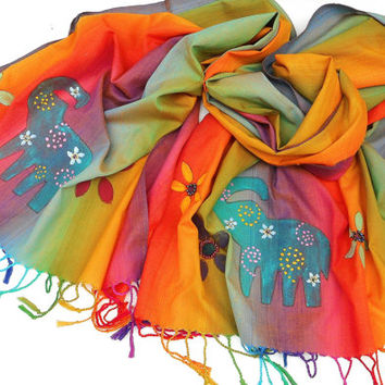 Colorful Boho Scarf Hand Painted Beaded Indian Elephant Bohemian Accessories FREE SHIPPING