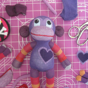 Sock Monkey Plush D.I.Y. Kit No. 719 - No Sewing Machine Needed