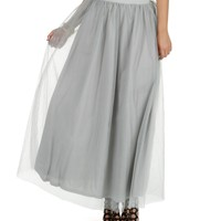 Sale-silver Tulle Maxi Skirt