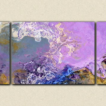 "Oversize triptych abstract expressionism stretched canvas print, 30x60 to 40x78 in lilac and blue, ""Lilac Festival"""