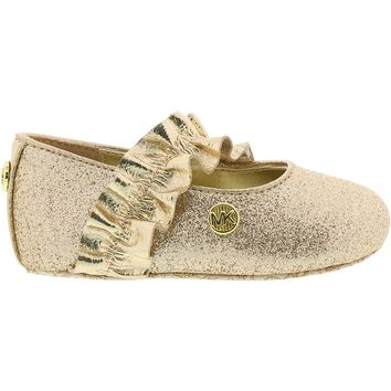 Michael Kors Girl's Baby Ruff Glitter and Metallic Ballet Flats
