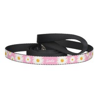 Floral Daisy Flowers On Pink And Pet's Own Name Pet Leash
