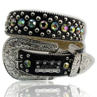 Crystal Studded VOLCANO Rhinestone Black Belt M: Western Wear for Women & Cowgirl Boutique - Western Cowgirl Online Store
