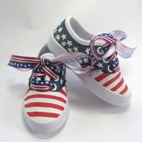 Girls Flag Shoes, Children's Patriotic Fourth of July Sneakers, Stars and Stripes for Baby and Toddler