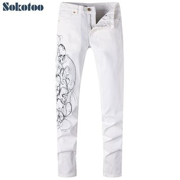 Men's white skull drawing 3D print jeans Casual slim straight denim pants