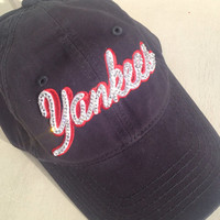 New York Yankees, inspired bling hat, bling hat, custom hat, bling hats, baseball hat, ladies bling cap, team hat, yankees, new york