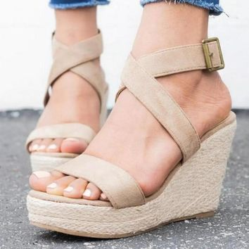 Oeak 2019 New Fashion Ladies Shoes Woman Wedges Summer Sandals Pumps Cross-tied High Heels Platform Zapatos Mujer Sandals