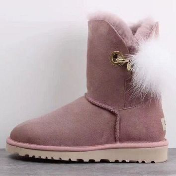 LFMON UGG 1017502 TODS Ball Swarovski Diamond Women Men Fashion Casual Wool Winter Snow Boots Sand Pink