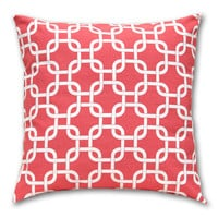 Throw Pillow Cover 18 x 18 Gotcha Coral Red Cotton Envelope Style Decorative Pillow