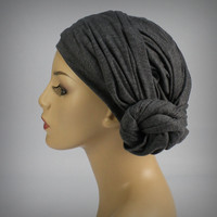 Forest Green Turban Chemo Hat Head Wrap Alopecia Scarf or Hijab, One Piece Wrap