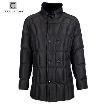 New Thick Warm Winter Jacket Men Overcoat Casual Sheared Sheep Skin Collar Removable Hat