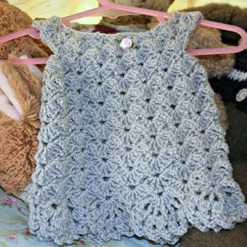 Baby crochet dress summer dress silver crochetyknitsnbits high quality chic baby girl clothes shower gift layette new born 0 to 3 months