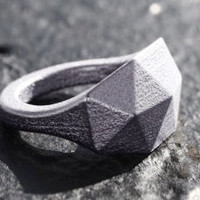 GEO RAW - Sterling silver faceted modern geometric 3D printed ring