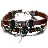 Leather Bracelet for Women Multilayer Charm Bangle Wrap,20cm