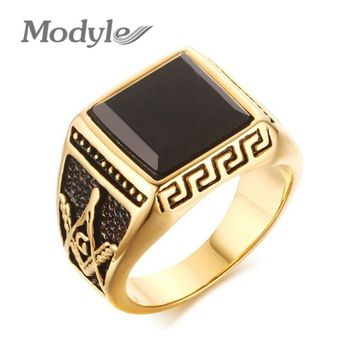 Modyle Gold-Color Cool Men Masonic Rings Stainless Steel Wedding Rings for Men Jewelry Black 15mm Wide Rings Jewelry