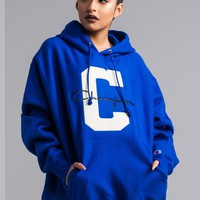 Champion Embroidered Big C And Script Logo Reverse Weave Women's Hoodie in Surf The Web