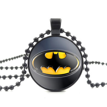 Batman Super Hero Pendant Necklace Glass Cabochon Art Picture Vintage Jewelry Black Bead Chain Long Necklace for Women Men Gift
