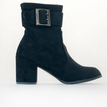 Buckle Down Heeled Booties in Black